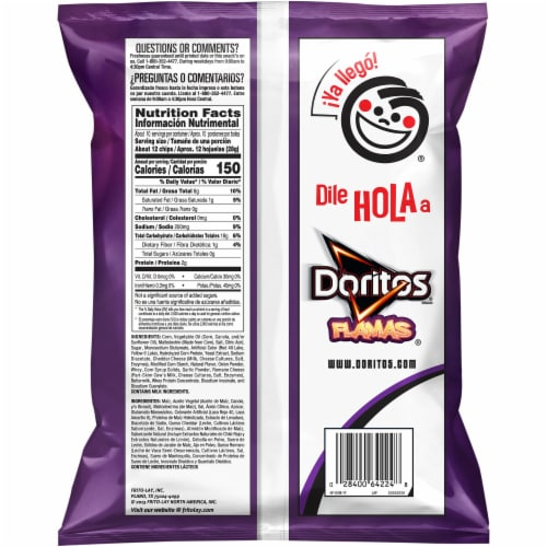 Doritos Flamas Flavored Tortilla Chips Perspective: back