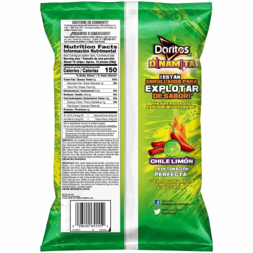 Doritos Dinamita Chili Limon Flavored Tortilla Chips Perspective: back