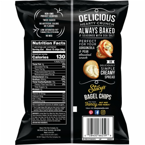 Stacy's Simply Naked Bagel Chips Snacks Perspective: back