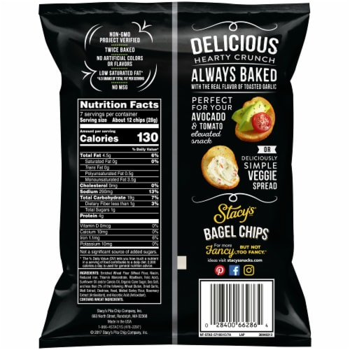 Stacy's Toasted Garlic Bagel Chips Snacks Perspective: back