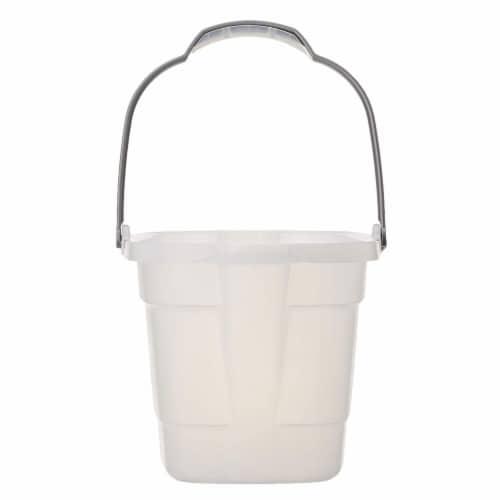 Casabella 4 Gallon Storage Bucket Caddy Bin - White Perspective: back