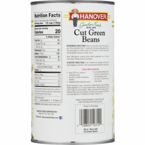 Hanover Garden Fresh Blue Lake Cut Green Beans Perspective: back