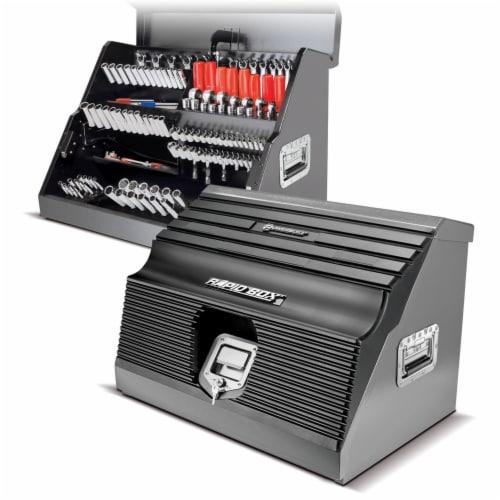 Powerbuilt Rapid Box Portable Slant Front Lockable Toolbox for Truck or Garage Perspective: back