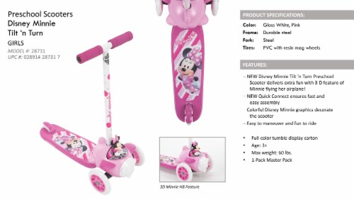 Huffy Minnie Mouse 3-Wheel Scooter - Pink/White Perspective: back