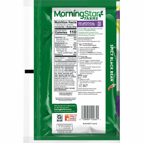 MorningStar Farms 9g Protein Spicy Black Bean Veggie Burgers Perspective: back