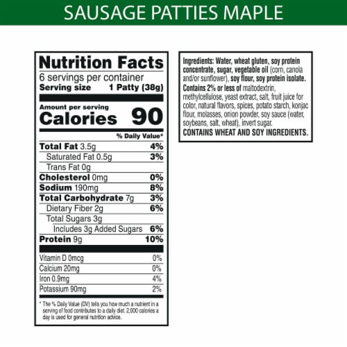 MorningStar Farms Frozen Veggie Breakfast Sausage Patties Maple Flavored Perspective: back
