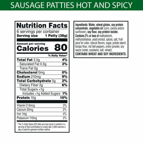 MorningStar Farms Frozen Veggie Breakfast Sausage Patties Hot and Spicy Perspective: back