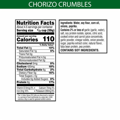MorningStar Farms Frozen Veggie Meal Starters Chorizo Crumbles Perspective: back