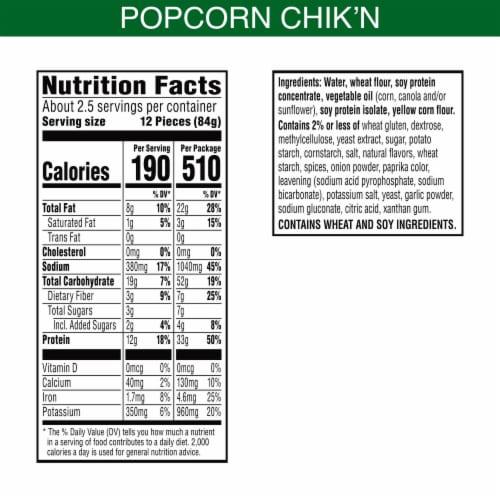 MorningStar Farms Frozen Veggie Popcorn Chik'n Original Perspective: back