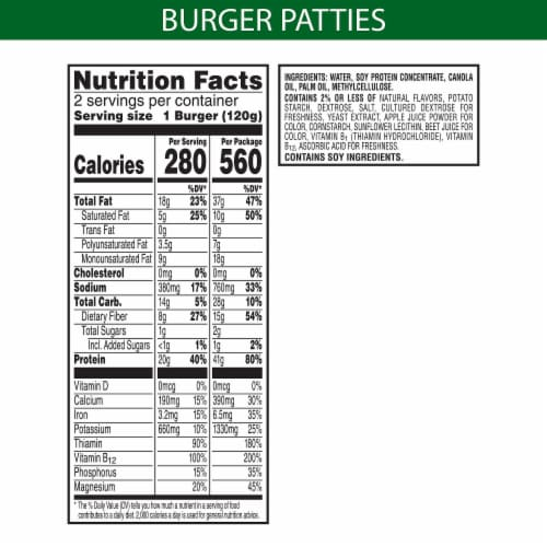 Incogmeato™ Plant-Protein Original Meatless Burgers Perspective: back