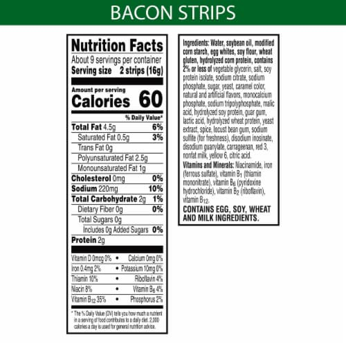 MorningStar Farms Frozen Veggie Bacon Strips Original Perspective: back