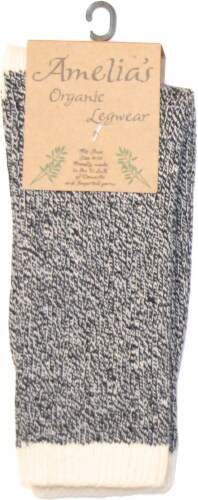 Amelia's Organic Legwear Women's Marled Body Crew Socks with Natural Tipping - Black Perspective: back