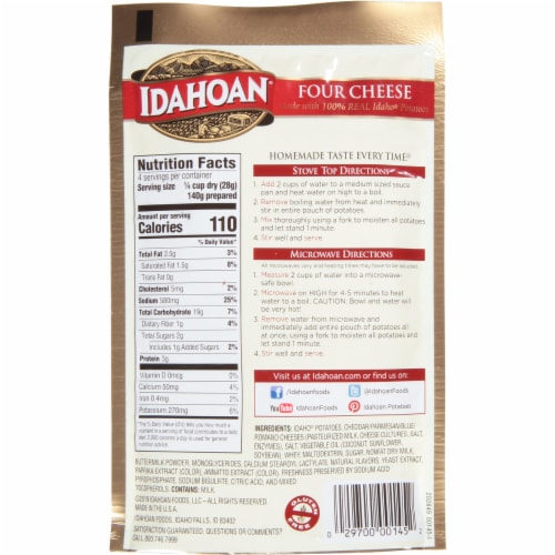 Idahoan Four Cheese Mashed Potatoes Perspective: back