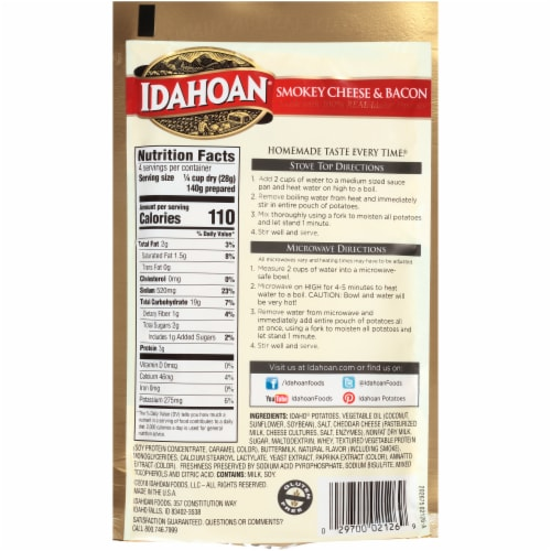 Idahoan Smokey Cheese & Bacon Mashed Potatoes Perspective: back