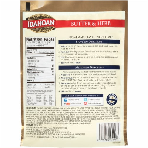 Idahoan Butter & Herb Mashed Potatoes Perspective: back