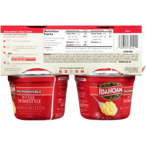 Idahoan® Buttery Homestyle Mashed Potatoes Microwavable Cups Perspective: back