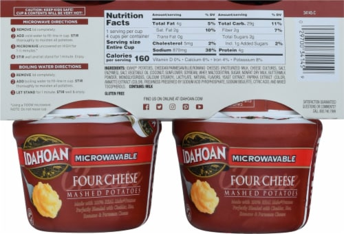 Idahoan Four Cheese Mashed Potato Microwave Cup Perspective: back