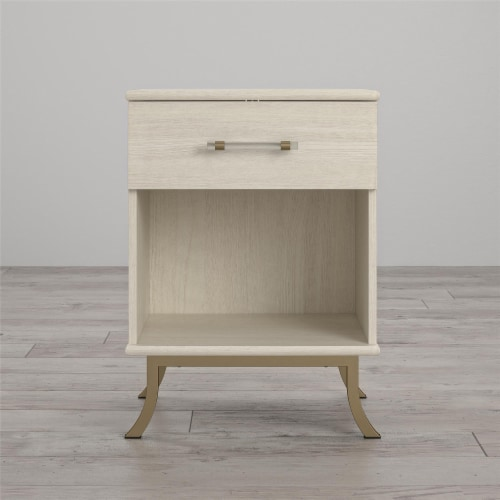 Monarch Hill Clementine White Nightstand Perspective: back