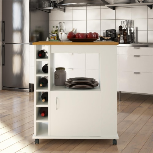 Williams Kitchen Cart, White Perspective: back