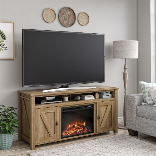 Ameriwood Home Farmington 60'' Fireplace TV Stand in Light Pine Perspective: back