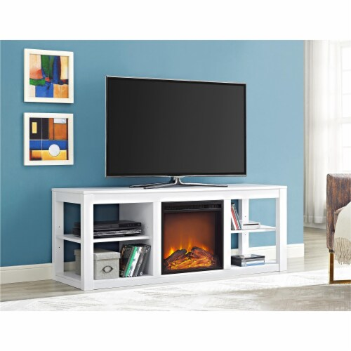 Ameriwood Home Parsons Fireplace TV Stand in White Perspective: back