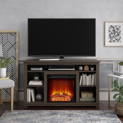 Edgewood Fireplace TV Stand for TVs up to 55 , Weathered Oak Perspective: back