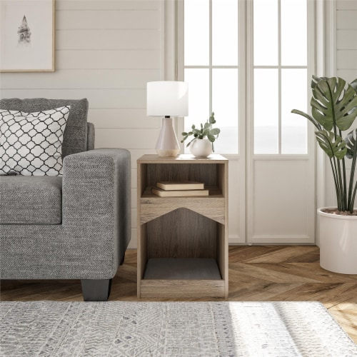 Roscoe Cat House End Table, Rustic Oak Perspective: back