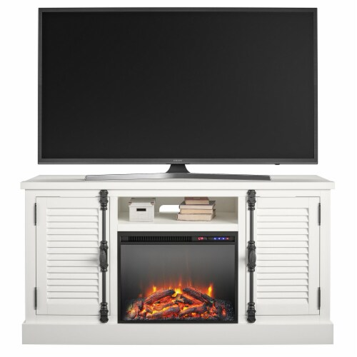 """Sienna Park Fireplace TV Stand for TVs up to 65"""", White Perspective: back"""
