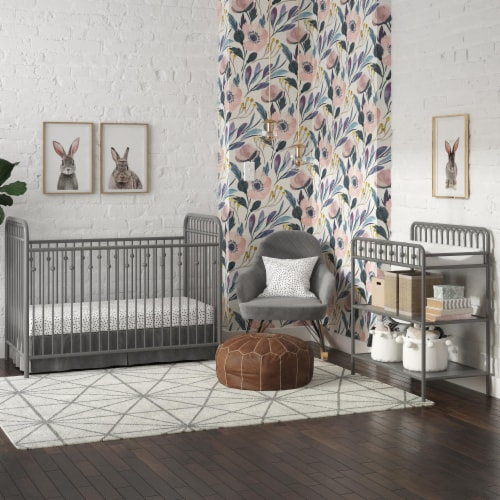 Monarch Hill Ivy Grey Metal Baby Crib Perspective: back