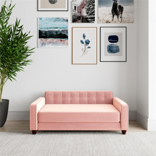 Ollie & Hutch Pin Tufted Pet Sofa, Large Size, Pink Velvet Perspective: back