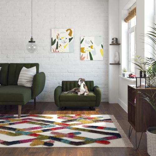 Novogratz Brittany Pet Sofa, Small/Medium Pet Bed, Green Linen Perspective: back