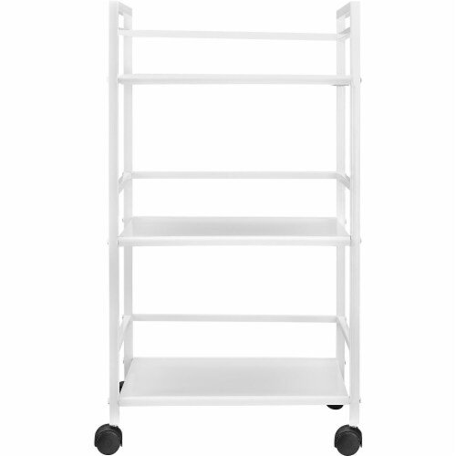 Marshall 3 Shelf Metal Rolling Utility Cart, White Perspective: back