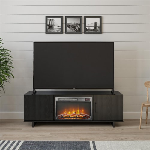 Southlander TV Stand with Fireplace for TVs up to 60 , Black Oak Perspective: back