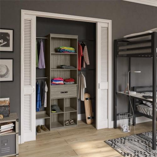 Nova Grow with Me Grey Oak Adjustable Kids' Closet Organizer System Perspective: back