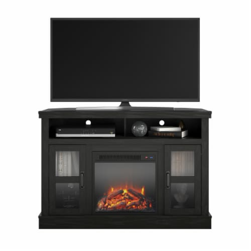 """Tinley Park Corner TV Stand with Fireplace for TVs up to 54"""", Black Oak Perspective: back"""