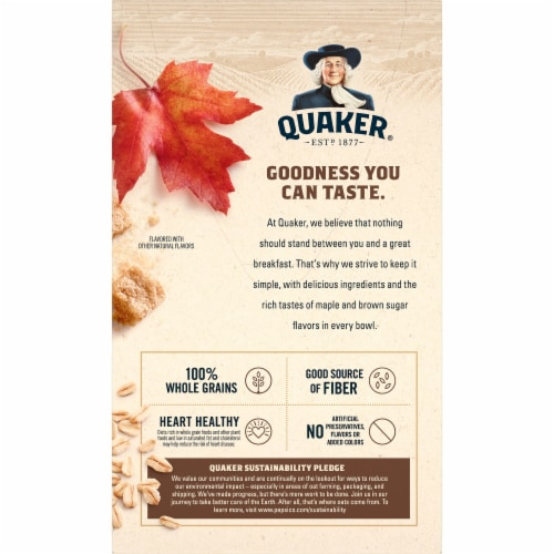 Quaker Maple and Brown Sugar Instant Oatmeal Packets Perspective: back