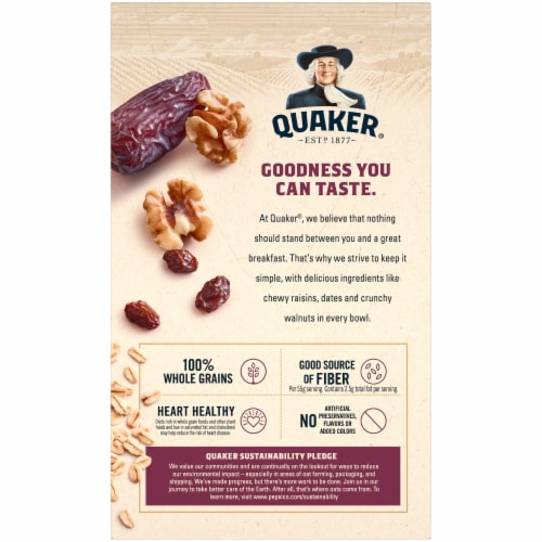 Quaker® Instant Oatmeal Breakfast Cereal Raisin Date Walnut 10 Count Perspective: back