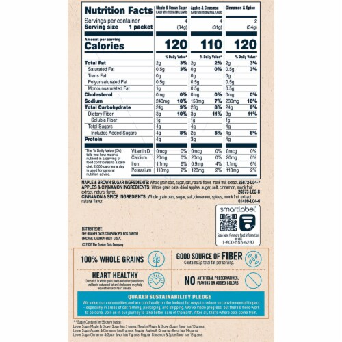 Quaker Breakfast Cereal Lower Sugar Instant Oatmeal Variety Pack Perspective: back