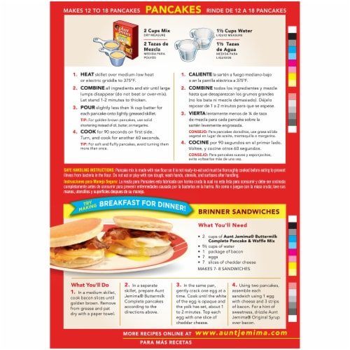 Aunt Jemima Buttermilk Complete Pancake & Waffle Mix Perspective: back