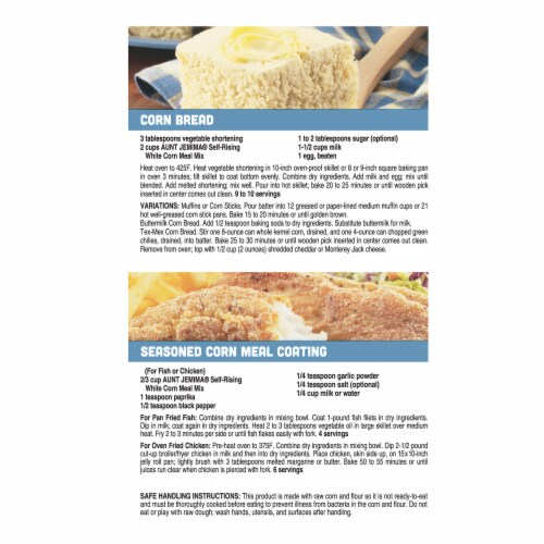 Aunt Jemima White Corn Meal Self Rising Flour For Baking Perspective: back