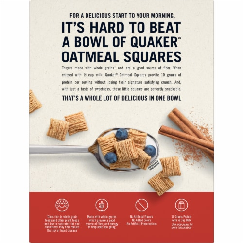 Quaker Cinnamon Oatmeal Squares Breakfast Cereal Perspective: back