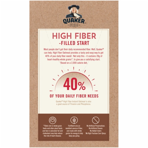 Quaker Instant Oatmeal Breakfast Cereal High Fiber Maple and Brown Sugar Packets Perspective: back