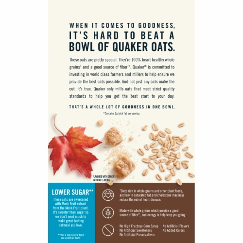 Quaker Breakfast Cereal Lower Sugar Maple and Brown Sugar Instant Oatmeal 10 Count Perspective: back