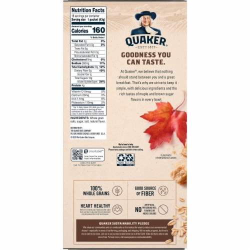 Quaker Breakfast Cereal Maple and Brown Sugar Instant Oatmeal Value Pack Perspective: back