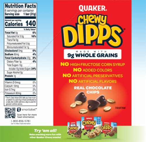 Quaker Chewy Dipps Chocolate Chip Granola Bars Perspective: back