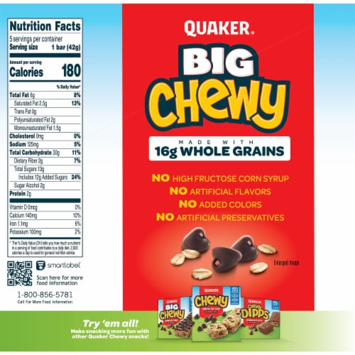 Quaker Big Chewy Granola Bars 60% Larger Chocolate Chip Snack Chewy Bars Perspective: back