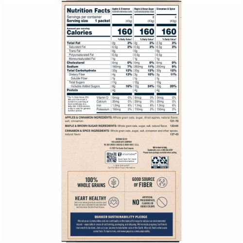 Quaker® Instant Oatmeal Breakfast Cereal Flavor Variety Pack Perspective: back