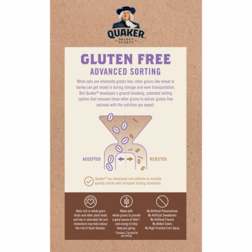 Quaker Select Starts Gluten Free Maple & Brown Sugar Instant Oatmeal Perspective: back