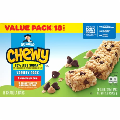 Quaker Chewy Less Sugar Granola Bar Variety Pack Perspective: back