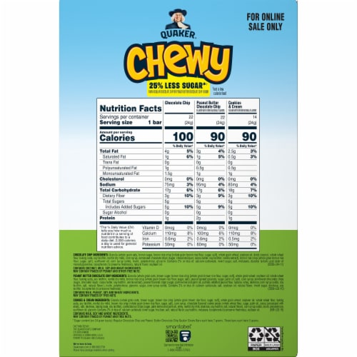 Quaker Chewy Less Sugar Granola Bars Variety Pack Perspective: back